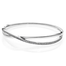 925 Sterling Silver Entwined with Clear Cz Bangle Bracelet QJBRC045 - $48.88