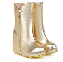PB107 Extra size stunning wedge booties, thick sole,US size 3-13, gold - $58.80
