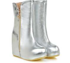 PB107 Extra size stunning wedge booties, thick sole,US size 3-13, silver - $58.80