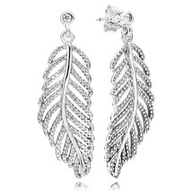 925 Sterling Silver Light as a Feather with Clear CZ Dangle Earrings - $26.99