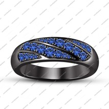 Engagement Wedding Band Ring Round Blue Sapphire 925 Silver Black Gold Plated - $97.99