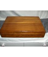 Vintage Oak Finish Wood Flatware Storage Box  Dark Orange Lined Tongue G... - $64.35