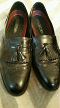 FLORSHEIM Men's SIZE 13  D BLACK Leather Wing Tip Kiltie Tassel Loafers - $58.47 CAD
