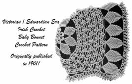 1901 Baby Bonnet Irish Crochet Leaf Victorian Pattern Baptism Shower Doll Gift 2 - $5.99
