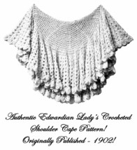 Antique Edwardian Crochet Shoulder Shawl Pattern 1902 - $5.99