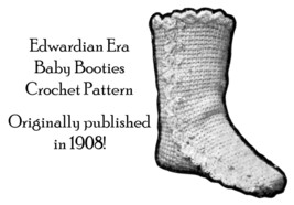 1908 Baby Booties Boots Vintage Crochet Pattern Edwardian DIY Tricot Tun... - $5.99