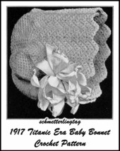 1917 Titanic WWI Baby Bonnet Crochet Pattern Baptism Christening Shower ... - $5.99