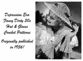 1936 Hat Gloves Crochet Pattern Depression Classic DIY Bogart Milliner Dirty 30s - $5.99