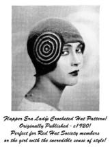c1920 Roaring 20s Flapper Crochet Crocheted Cloche Hat Pattern Prohibition DIY 3 - $5.99