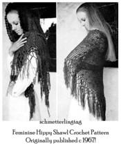 1970s 70s Feminine Shawl Mantilla Crochet Pattern DIY 1970s Vintage Hipp... - $5.99