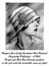 c1920 Roaring 20s Flapper Crochet Crocheted Cloche Hat Pattern Prohibition DIY 5 - $5.99