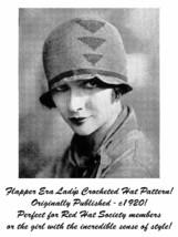 c1920 Roaring 20s Flapper Crochet Crocheted Cloche Hat Pattern Prohibiti... - $5.99