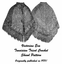 1871 Victorian Dickens Shawl Cape Tricot Crochet Pattern Historical Reen... - $5.99