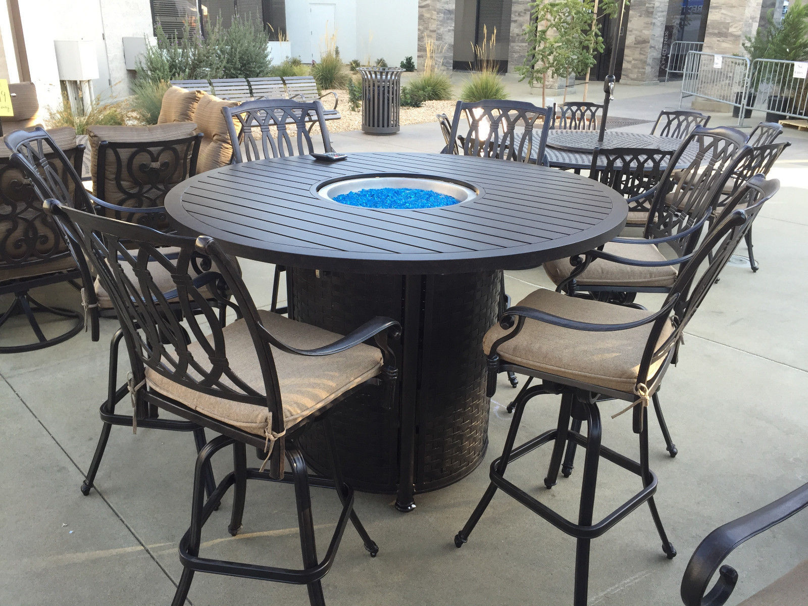 SAN MARCOS 7 Piece Bar Height Patio Set with Fire Pit 71 inch Round Table for 6
