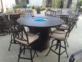 SAN MARCOS 7 Piece Bar Height Patio Set with Fire Pit 71 inch Round Tabl... - $4,752.00