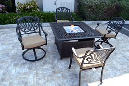Patio conversation set cast aluminum Furniture Propane fire pit table 5 pc image 2