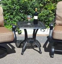 Patio Furniture Set 3pc Elisabeth Club Rocker Spring Base Swivel Chairs aluminum image 2