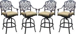 Patio bar stools set of 6 Elisabeth cast aluminum outdoor barstool Bronze image 2