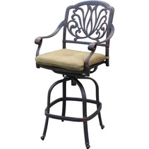 Patio bar stool set of 4 Elizabeth cast aluminum Outdoor swivel Barstools Bronze image 2