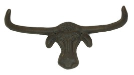CAST IRON- Longhorn Steer Wall Hook Hanger, Western Decor - $16.82