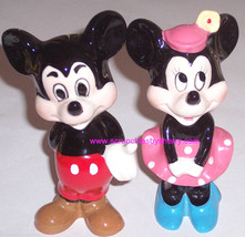 Walt Disney Productions Minnie Mickey Mouse Japan Ceramic Figurine Vinta... - $49.97