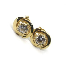 18K YELLOW GOLD BUTTON EARRINGS CUBIC ZIRCONIA, OVAL WAVE WORKED FRAME, 10 MM image 1