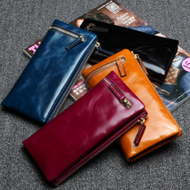 LuxUniQ Genuine Oil Wax Leather Women Coin Purse Clutch Bag Ladies Long ... - $30.50