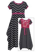 Big Girl Tween 7-16 Black White Chevron Stripe Lace Back Maxi Dress, Bonnie Jean