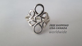 Sterling silver ring; infinity design, 92.5 ste... - $22.50