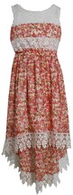 Little Girl 2T-6X Lace And Floral Chiffon High Low Maxi Dress, Bonnie Jean