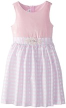 Big Girl Tween 7-16 Pink Silver Stripe Tafetta Fit Flare Dress, Bonnie Jean