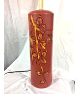 Signed Raymor Mid Century Tall Ceramic Pottery Lamp Red Floral Italy Lea... - $272.25
