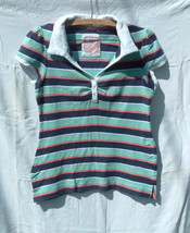 Vanity Girls Sz L Polo Cap Sleeve Mulit-color Striped Shirt Top Everyday Casual - $3.95