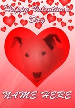Bull Terrier Puppy Dog Valentine's Day Personalised Greeting Card codeHM... - $3.77