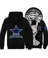 NFL Fleece DALLAS COWBOYS Football Logo Unisex Zipper Print Hoody Jacket - NEW - $84.99