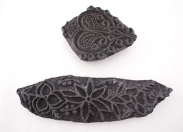 Pair of Wood Block Stamp Decor, Table Accent Decoration - $16.99
