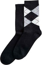 Hue Women's Black Argyle & Solid Boot 2 Pack Socks One Size NWT MSRP $14 - $3.75