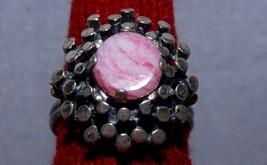 Big 1950s Era Sterling Silver & Pink Quartz Gypsy Ring  - $49.49