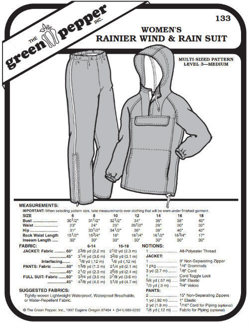 Primary image for Women's Ranier Wind and Rain Suit Pants Coat Jacket #133 Sewing Pattern gp133