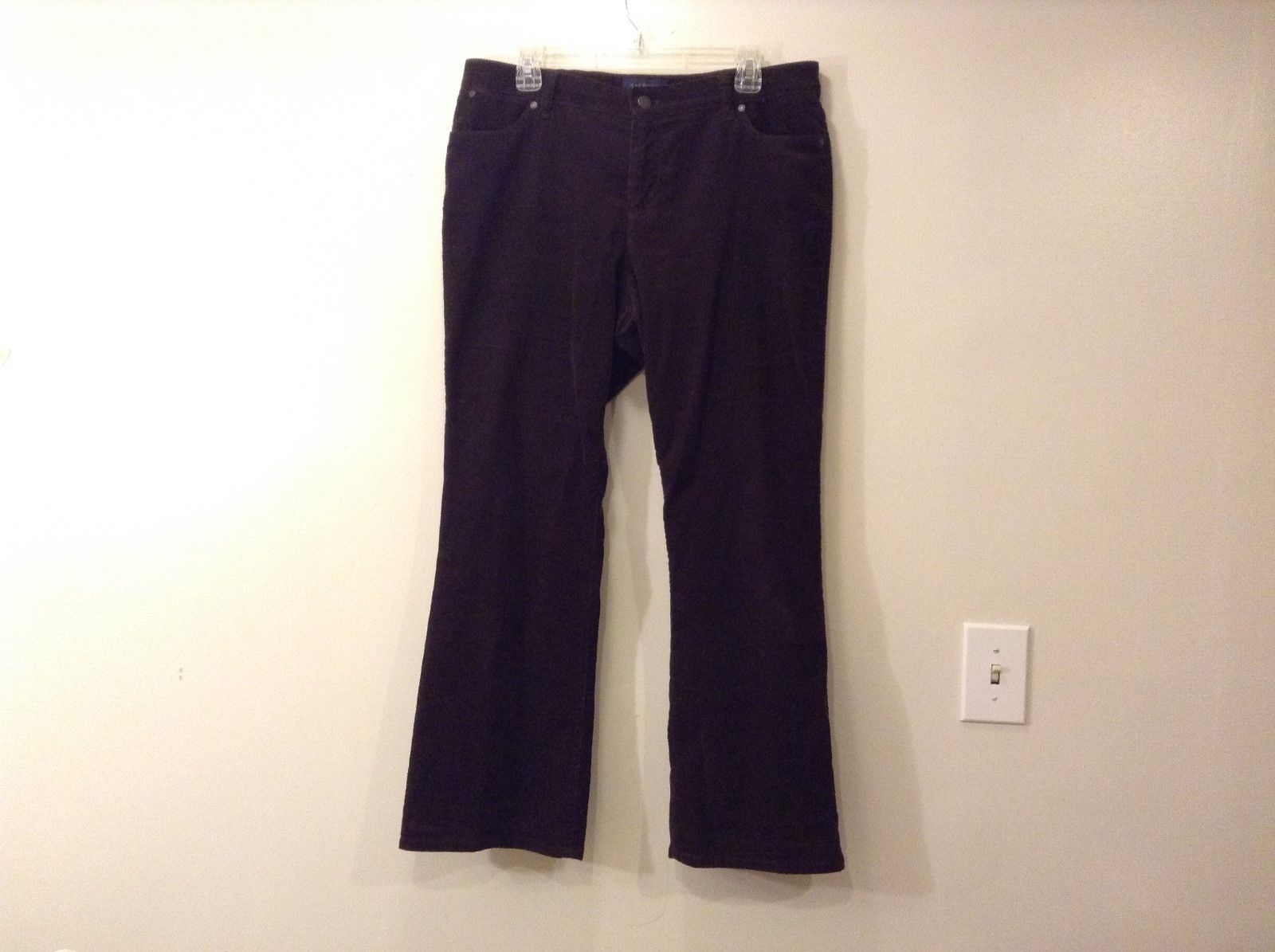 Ladies Talbots Curvy Dark Chocolate Brown Corduroy Pants Jeans Sz 14P