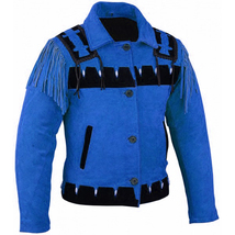 New women Blue Western Leather Indian Western Cowboy Carnival Suede Jacket - $157.97