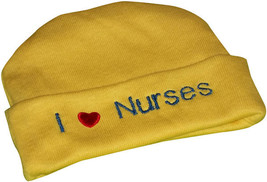 "Preemie & Newborn  ""I love Nurses"" Yellow Hat with Royal Blue Embroidery - $10.00"