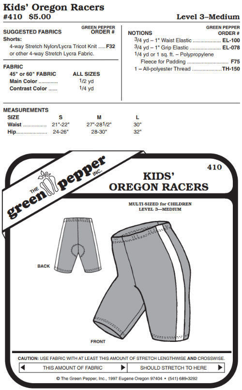 Primary image for Children Kids Oregon Racers Running Bicycle Shorts #410 Sewing Pattern gp410