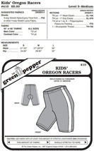 Children Kids Oregon Racers Running Bicycle Shorts #410 Sewing Pattern gp410 - $5.00