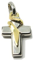 Cross Pendant IN Yellow and White Gold 18K 750 Bicolor Crucifix Made IN Italy image 1