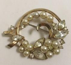Vintage Crown Trifari Rhinestone Faux Pearl Pin Goldtone Floral Brooch - $24.13