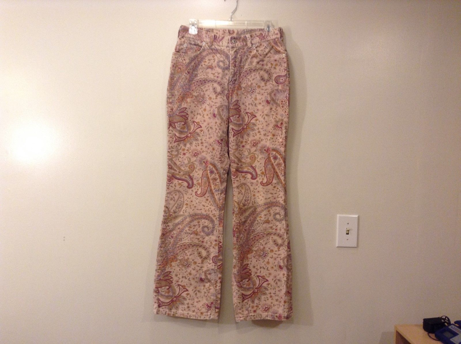 Ladies Lands End Corduory Floral Light Pink Beige Tan Jeans Pants Sz 8