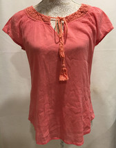 Lucky Brand Casual Work Coral Crochet Tie Neck Tunic Boho Blouse Top Sz ... - $15.99