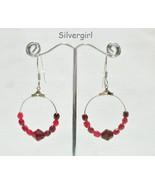 Faceted Ruby Coloured Glass Bead Hoop Earrings - $7.99