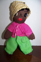"Vintage Homemade black rag doll 7"" - $6.32"